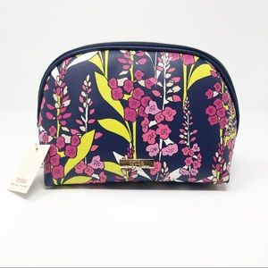 New Trina Turk Blue and Pink Floral Cosmetic Bag